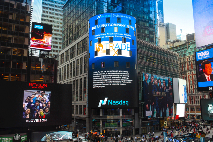 Trxade Group featured on NASDAQ tower on 10/29/2015.